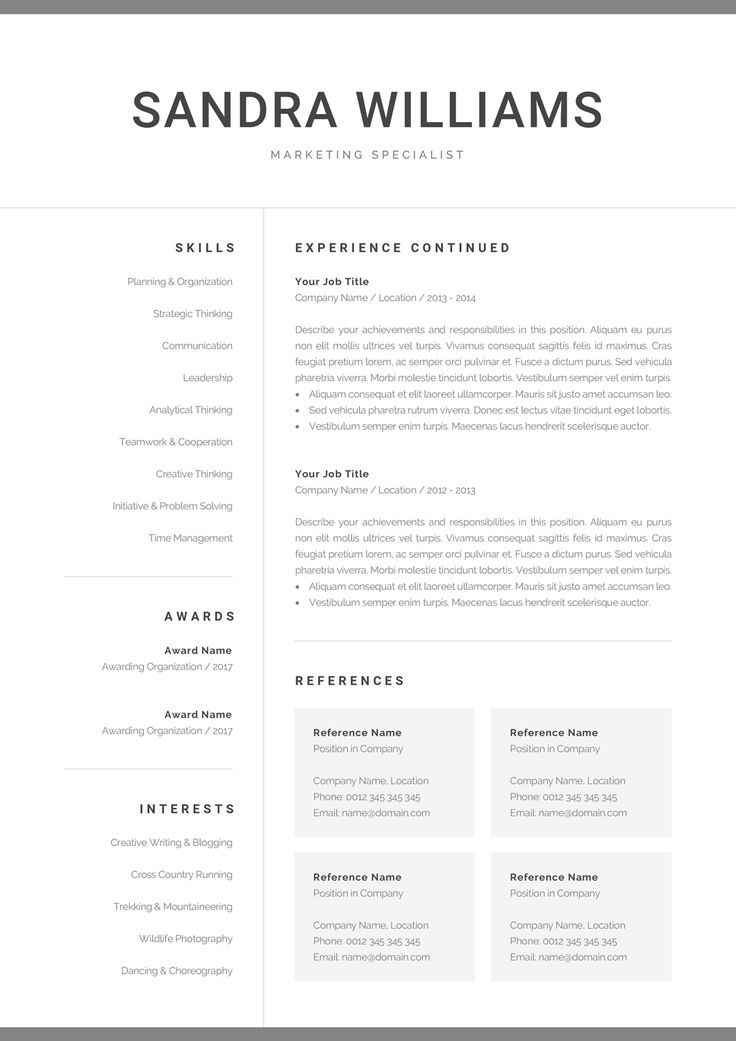 professional resume template for word modern marketing cv etsy one or two confidentiality Resume One Page Or Two Page Resume