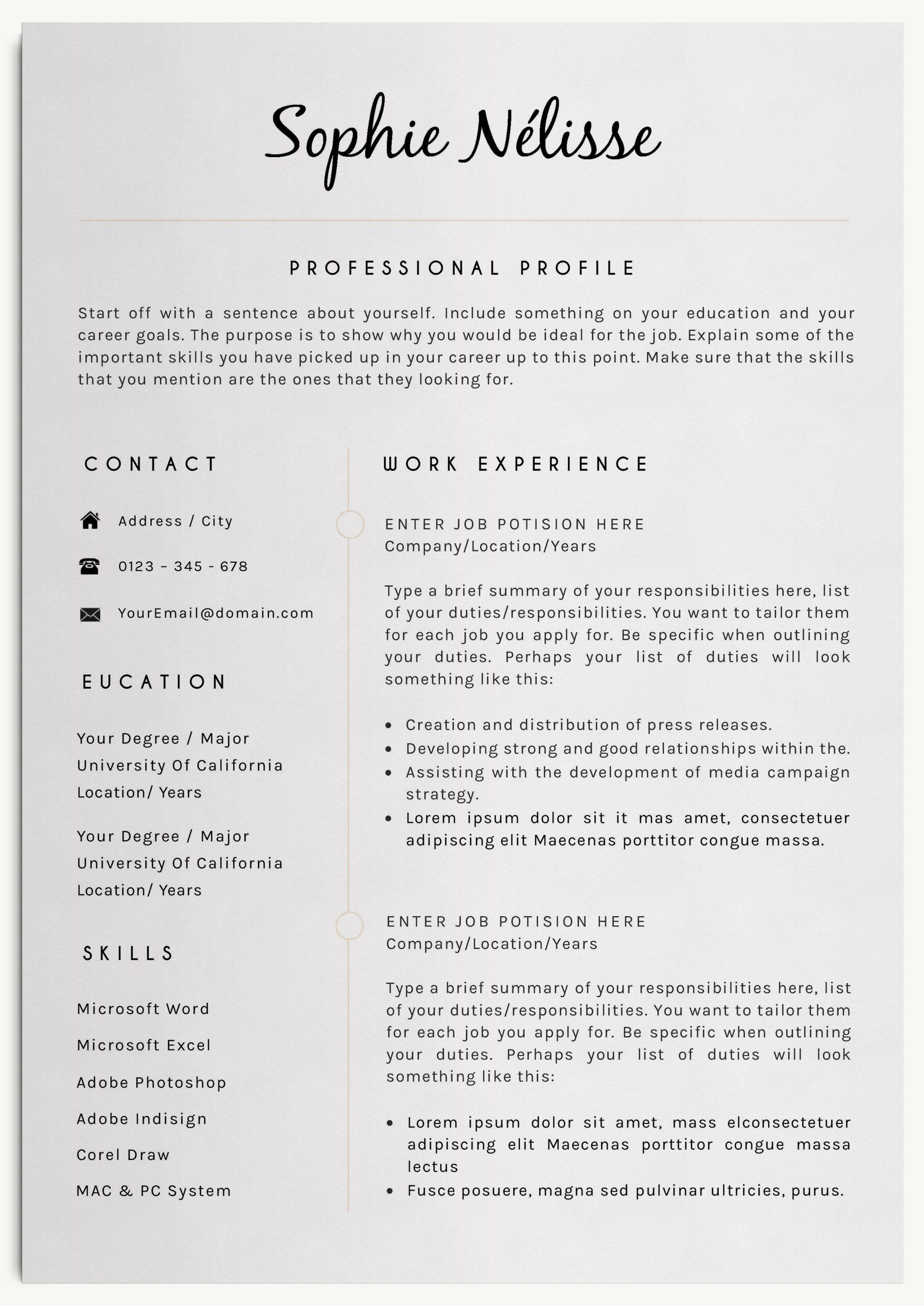 professional resume template job good examples number location crew member description Resume Resume Page Number Location