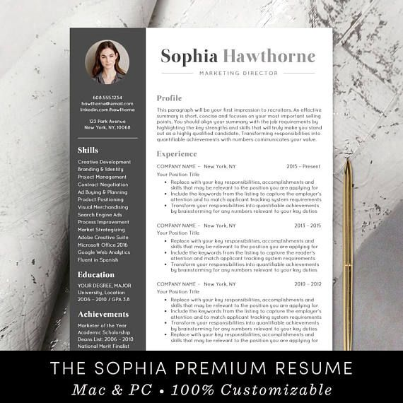 professional resume template with photo modern cv word mac free cover letter teacher Resume Free Resume And Job Description Match