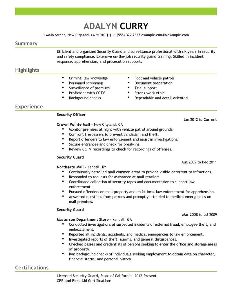 professional security guard resume examples safety livecareer officer job duties Resume Security Officer Job Duties Resume