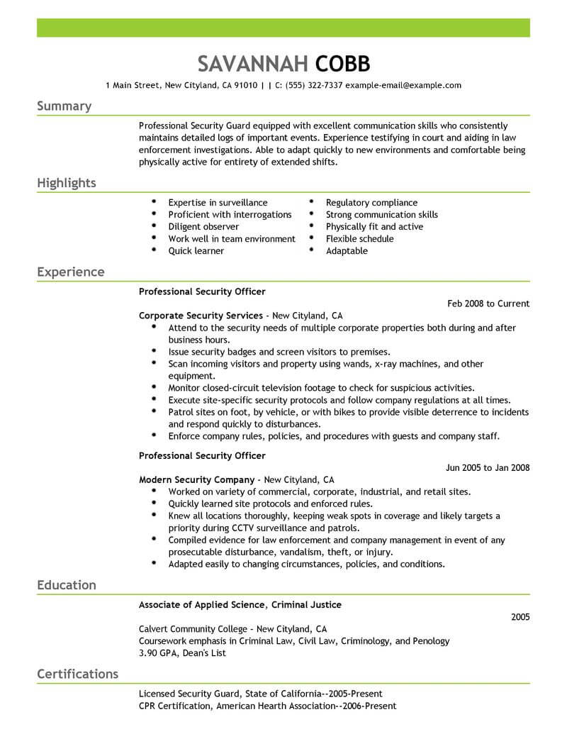 professional security officer resume examples safety livecareer criminology objective Resume Criminology Objective Resume