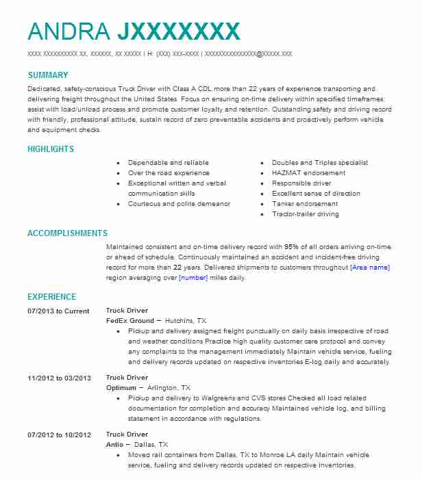 professional truck driver resume examples driving livecareer objective planet typical Resume Truck Driver Resume Objective