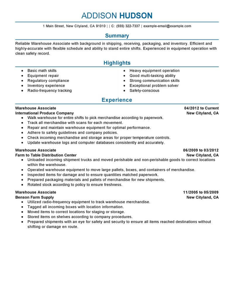 professional warehouse worker resume examples inventory management livecareer compliance Resume Compliance Associate Resume