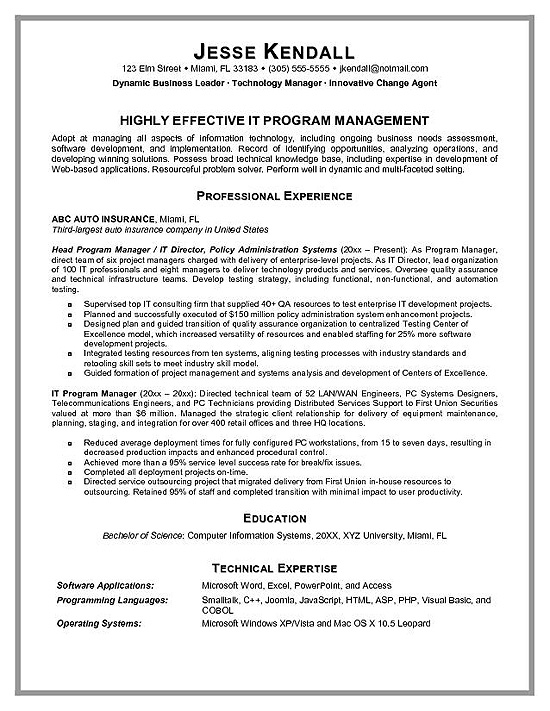 program manager resume example technical examples ironworker generic form don goodman Resume Technical Program Manager Resume Examples