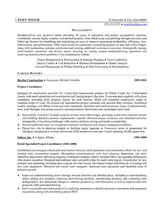 project coordinator resume template premium samples example manager examples retail Resume Leasing Coordinator Resume