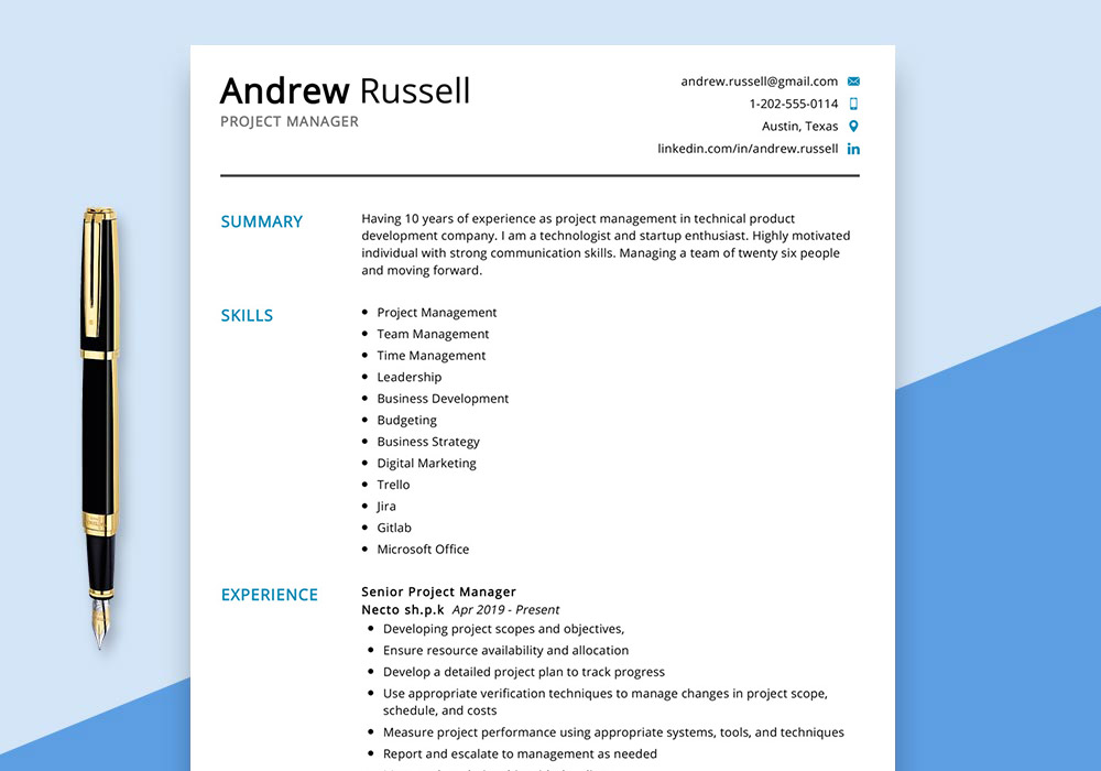 project manager resume example maxresumes sample entry level program cfo printer Resume Project Manager Resume 2020