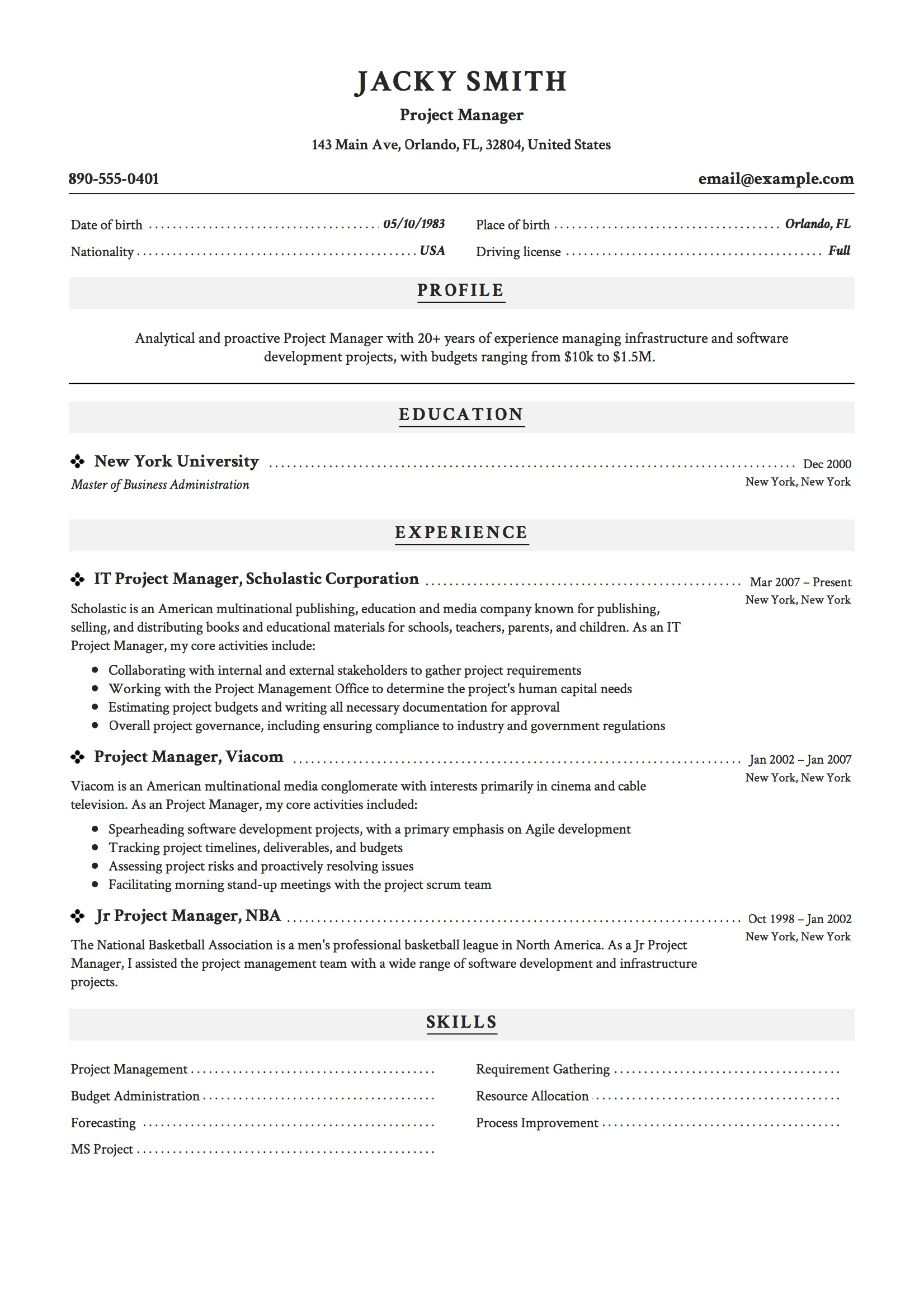 project manager resume examples full guide pdf word civil sample auditor summary scrum Resume Civil Project Manager Resume