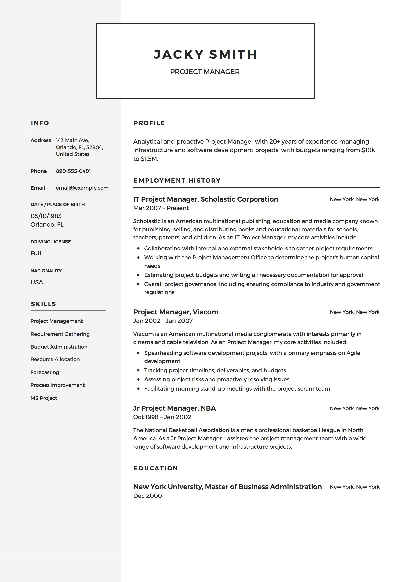 project manager resume examples full guide pdf word example retail template envato skills Resume Project Manager Resume Examples 2018