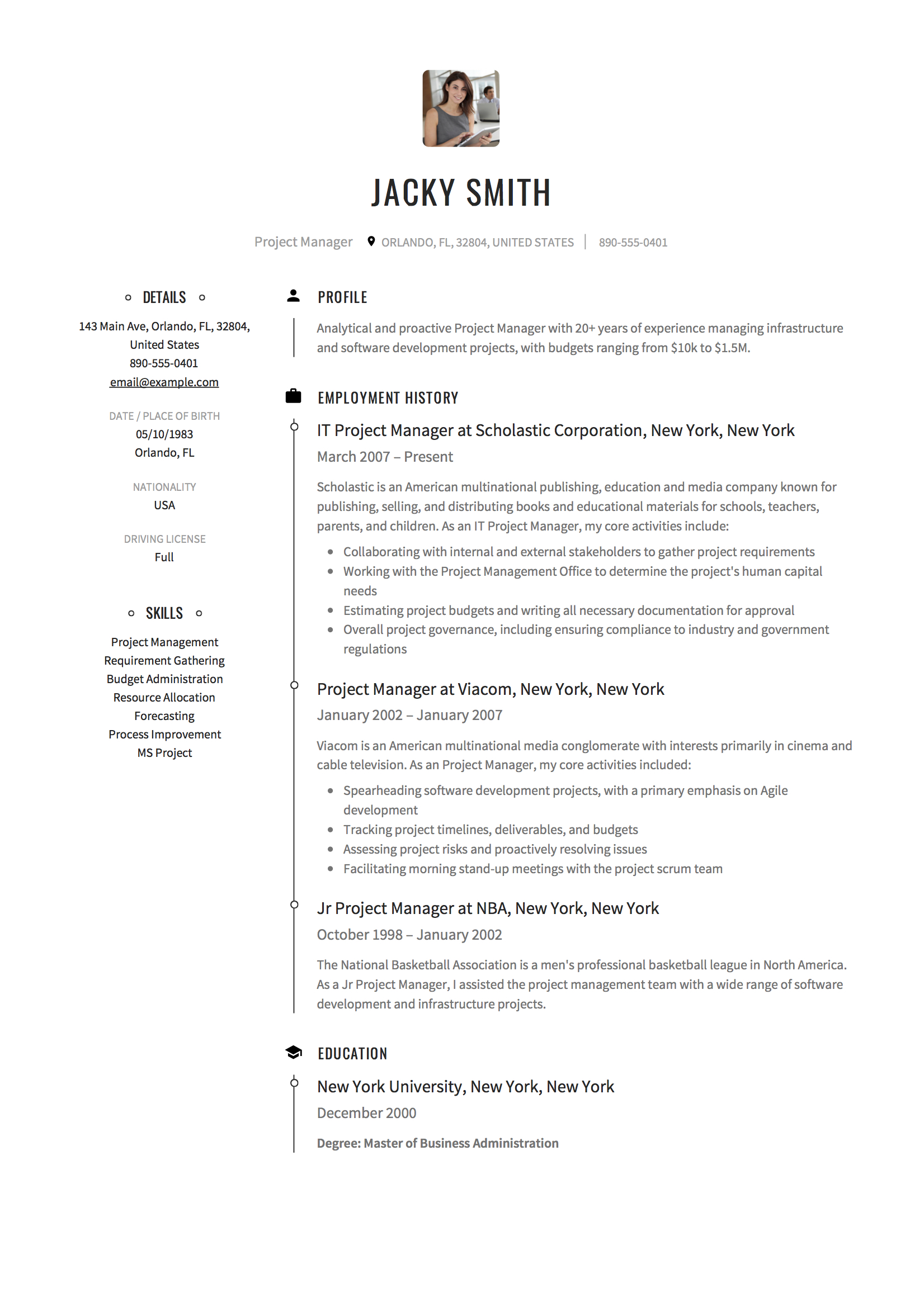 project manager resume examples full guide pdf word mba generic job ui developer format Resume Project Manager Resume 2020