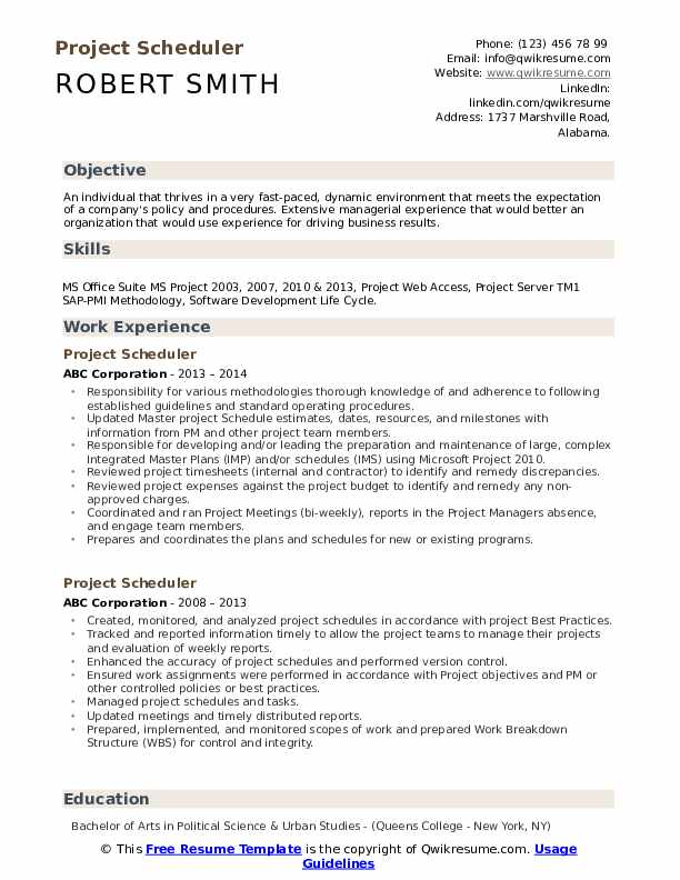 project scheduler resume samples qwikresume primavera planner pdf ats template for Resume Primavera Project Planner Resume