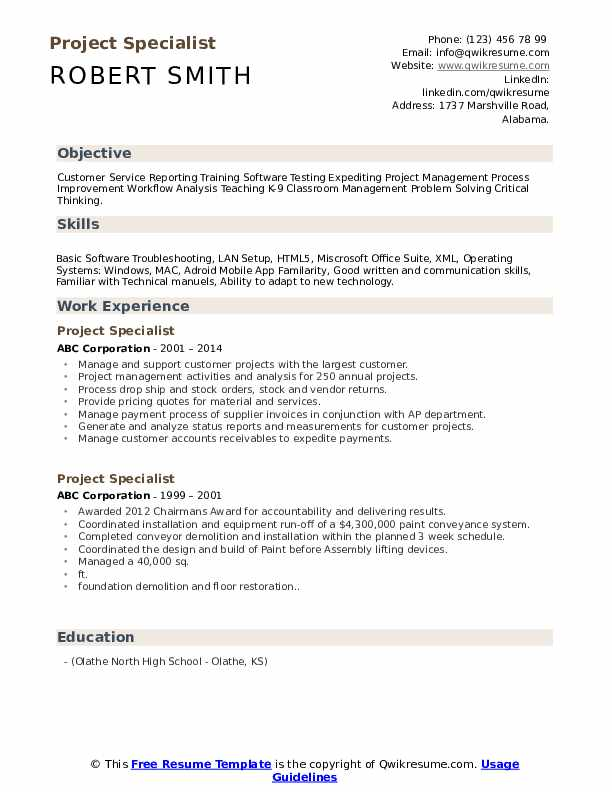 project specialist resume samples qwikresume school projects on pdf phone number format Resume School Projects On Resume