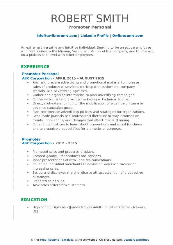promoter resume samples qwikresume job description for pdf skills and strengths examples Resume Promoter Job Description For Resume