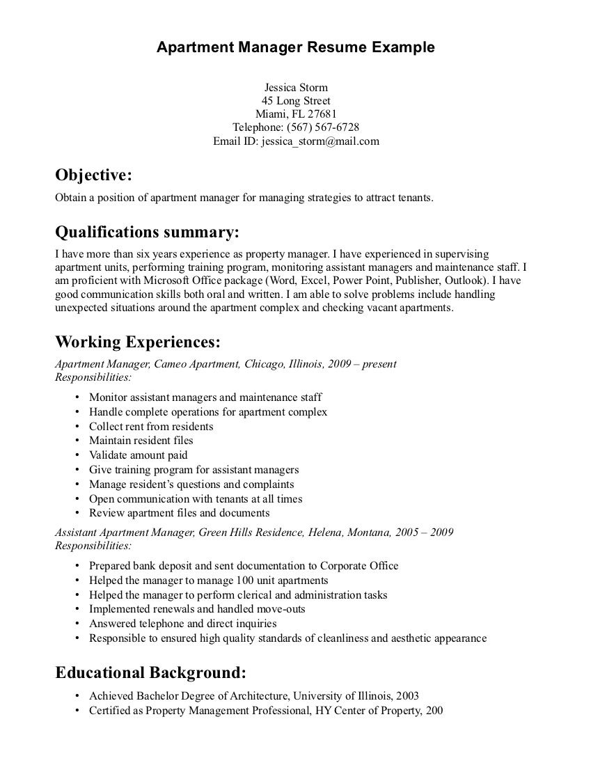 property manager resume sample resumes examples cover letter for management objective Resume Property Management Objective Resume