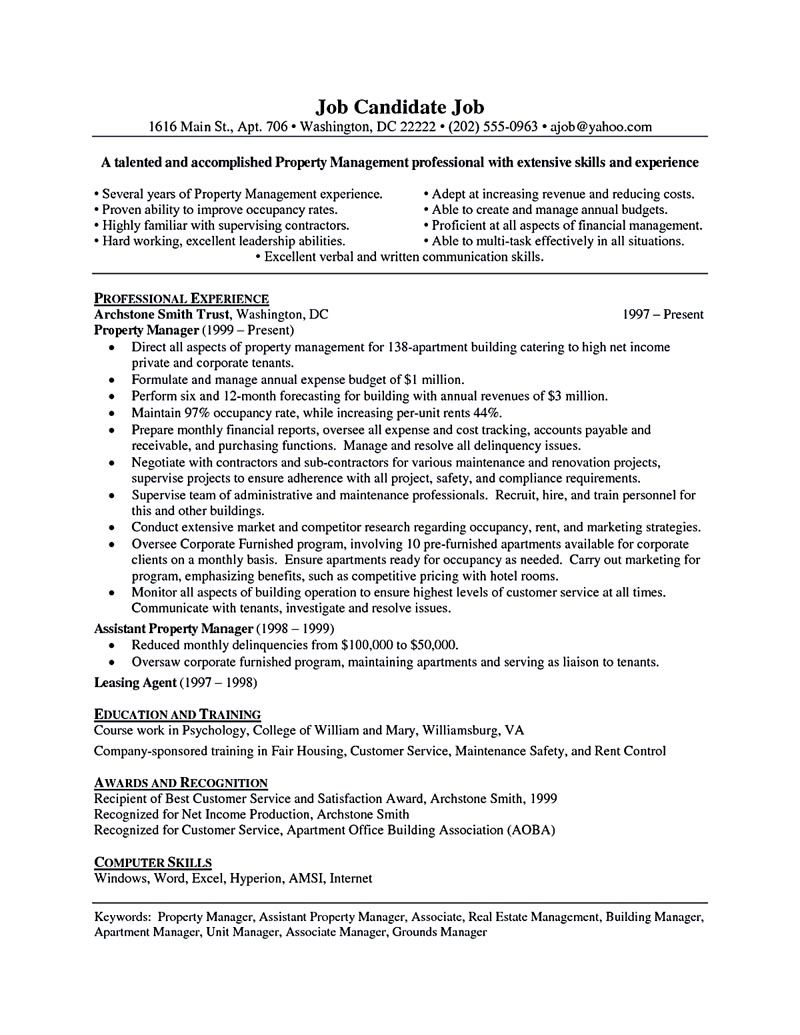 property manager resume should rightly written to describe your skills as examples Resume Assistant Property Manager Resume