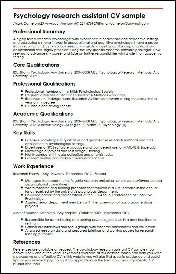 psychology research assistant cv example myperfectcv resume for position sample concrete Resume Resume For Research Position