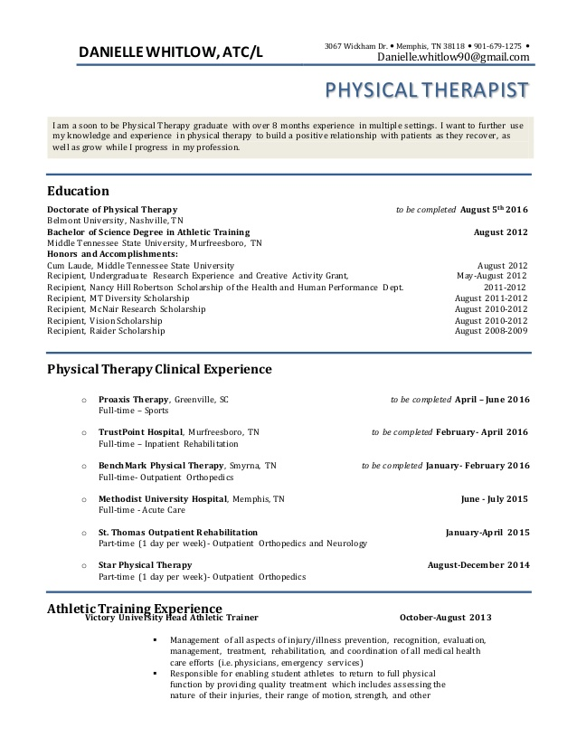 pt resume physical therapist uci template profile content for without work experience Resume Physical Therapist Resume