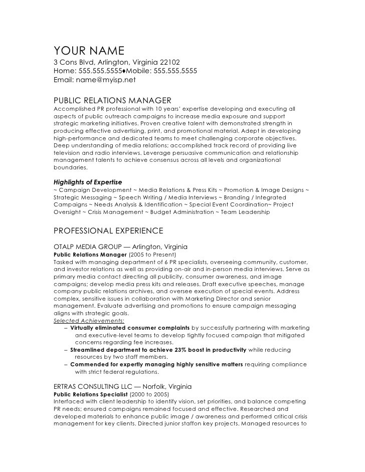 public relations manager cv template resume office experience warehouse skills examples Resume Public Relations Resume