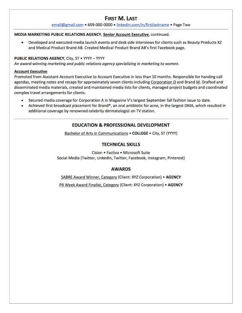 public relations resume sample professional examples topresume page2 federal agent first Resume Public Relations Resume