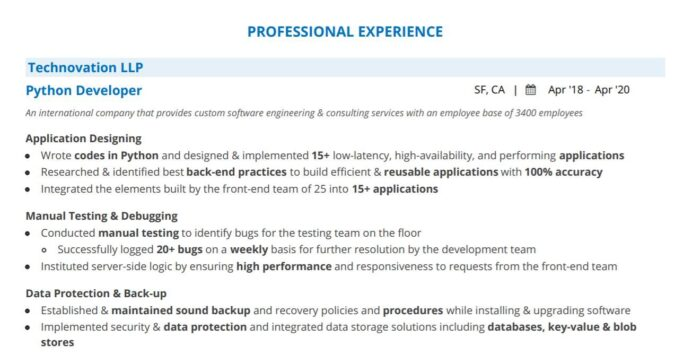 python developer resume guide with examples postgresql example professional experience Resume Postgresql Developer Resume Example