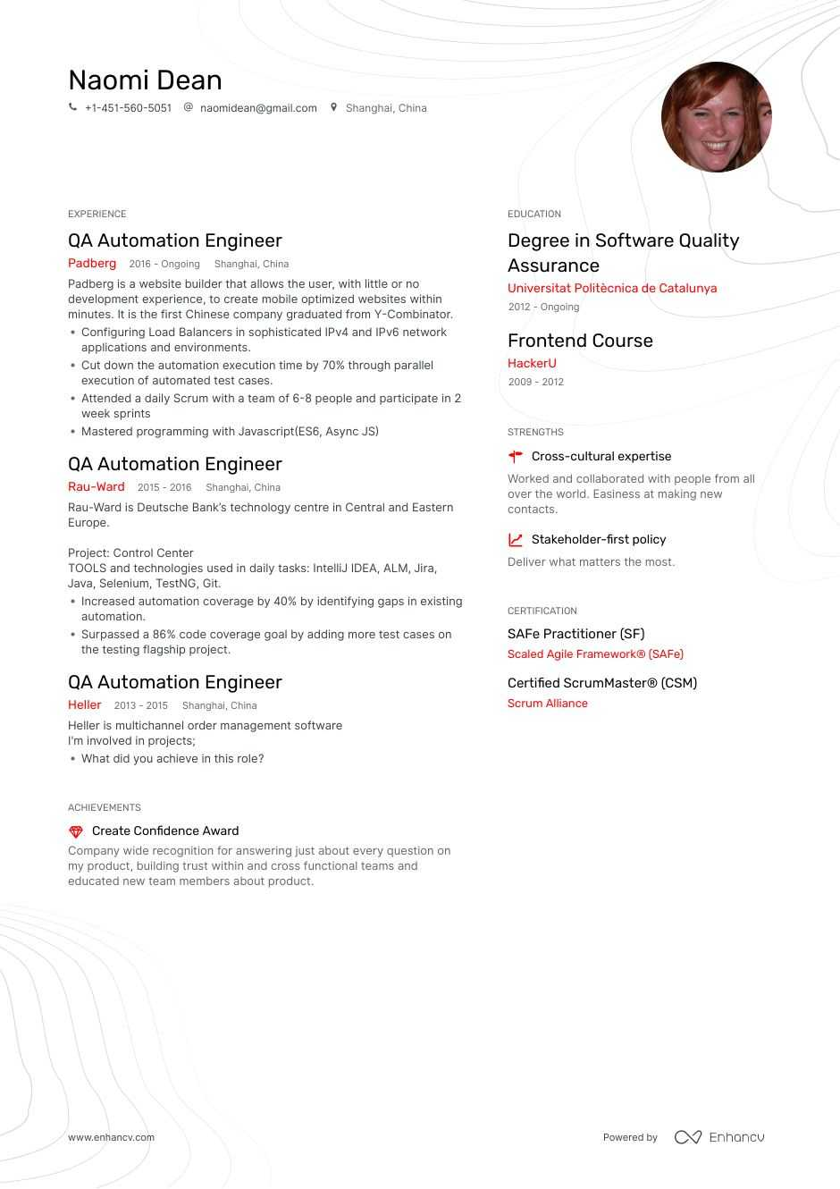 qa automation resume example for enhancv tester two column template administrative Resume Automation Tester Resume