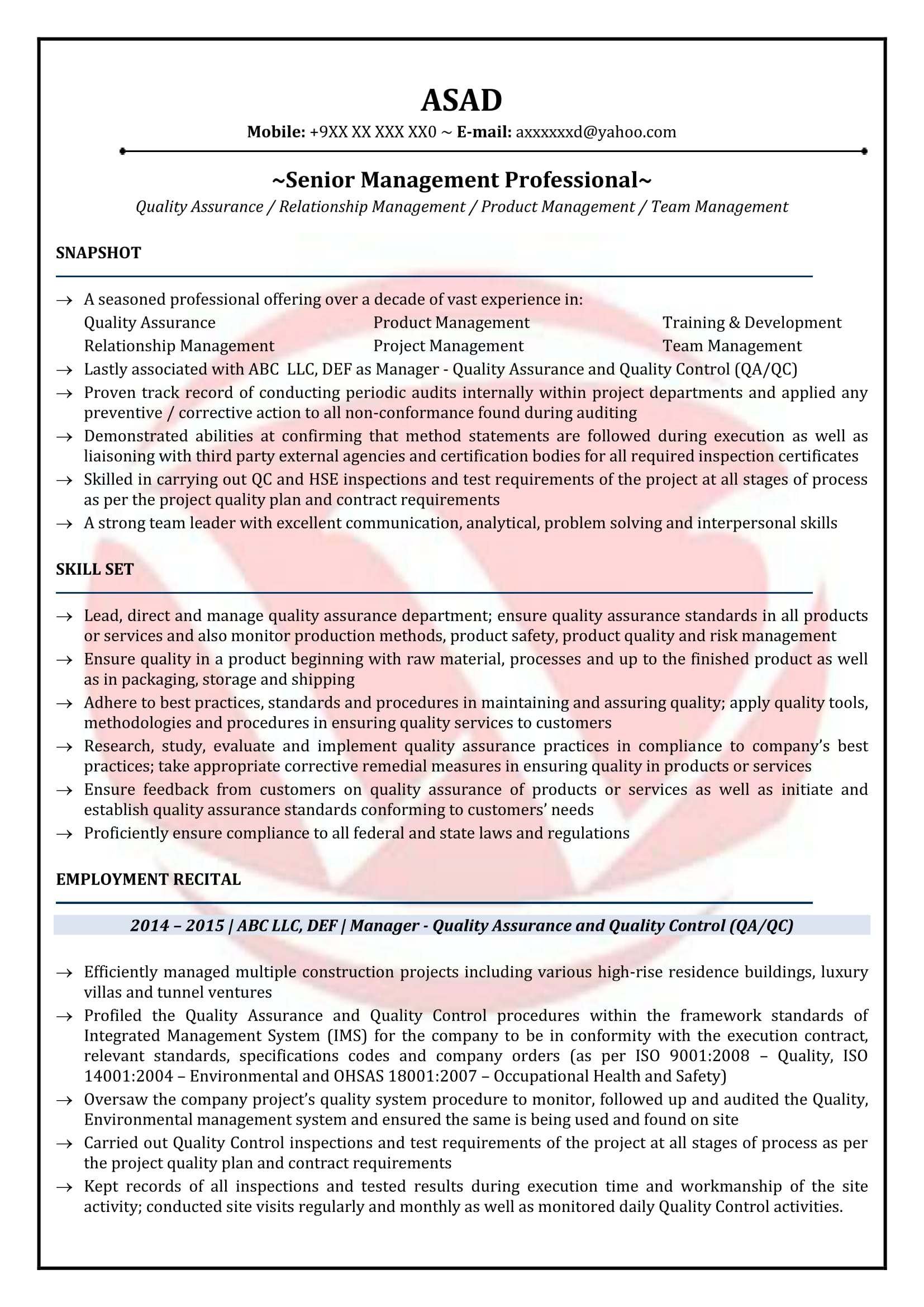 qa manager sample resumes resume format templates quality template supervisor objective Resume Quality Manager Resume Template