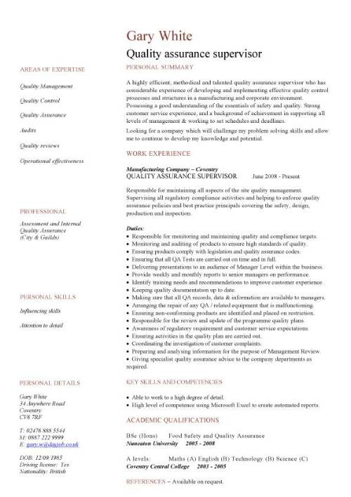 quality assurance cv sample experience resume pic template free templates for college Resume Quality Assurance Experience Resume