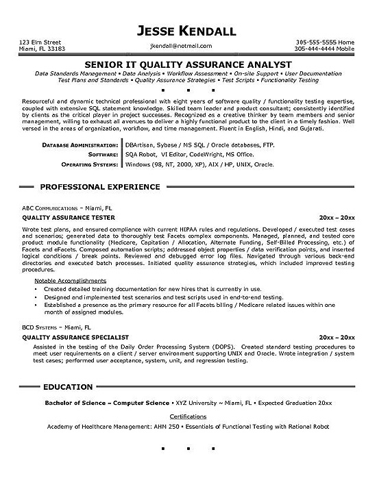 quality assurance resume example experience skills for sorority free templates college Resume Quality Assurance Experience Resume
