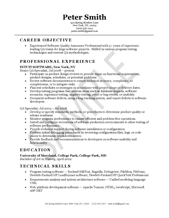 quality assurance resume example objective for experienced extec25 contoh untuk temuduga Resume Resume Objective For Experienced