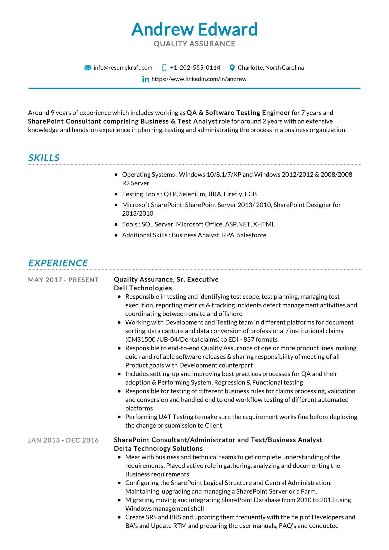 quality assurance resume sample resumekraft experience core functional template for word Resume Quality Assurance Experience Resume