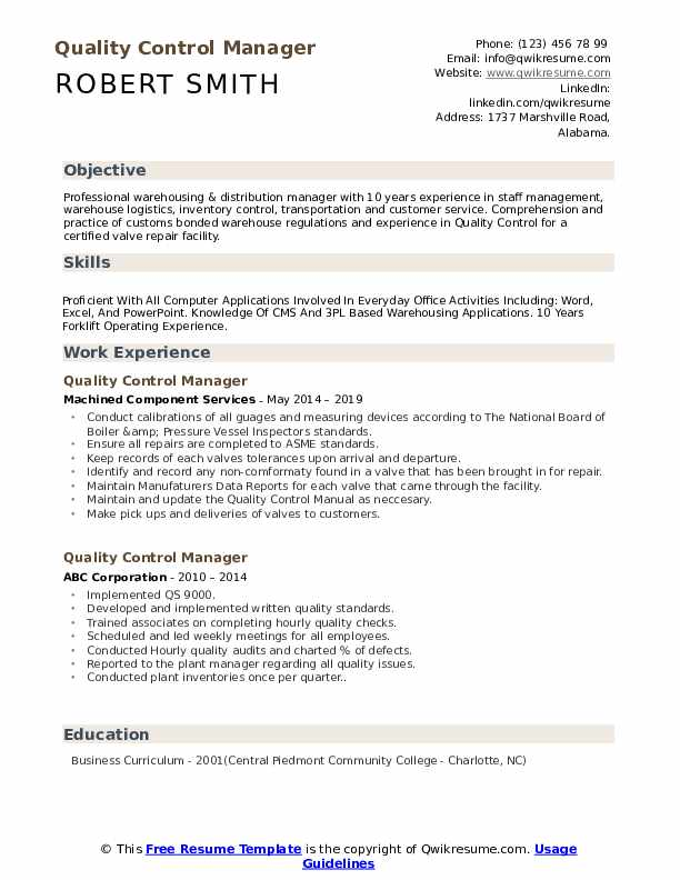 quality control manager resume samples qwikresume template pdf microsoft templates Resume Quality Manager Resume Template