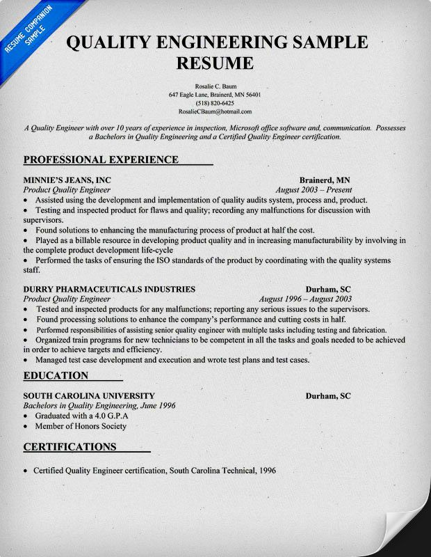 quality engineer resume sample template engineering examples objective hotel general Resume Quality Engineer Resume Objective