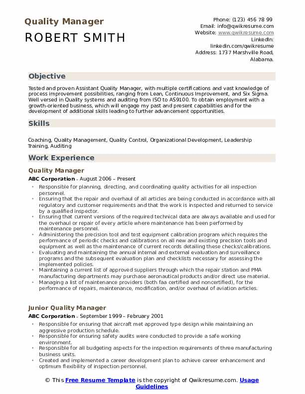 quality manager resume samples qwikresume template pdf church office administrator parse Resume Quality Manager Resume Template