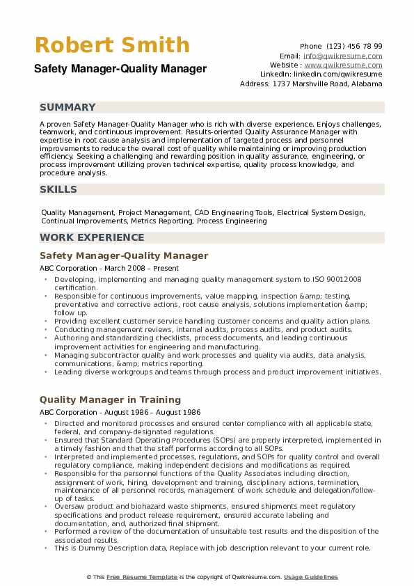 quality manager resume samples qwikresume template pdf experience based parse meaning Resume Quality Manager Resume Template