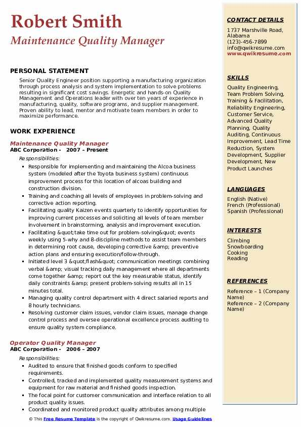 quality manager resume samples qwikresume template pdf for job interview cash management Resume Quality Manager Resume Template