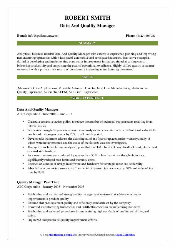 quality manager resume samples qwikresume template pdf high school summary information Resume Quality Manager Resume Template