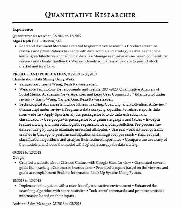 quantitative analyst resume example ever bright group llc new research quality control Resume Quantitative Research Resume