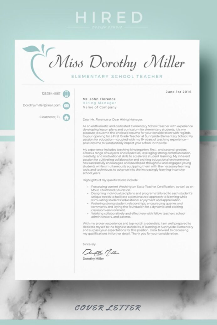 r46 miss dorothy teacher resume template for mac ms word elementary cv cover letter Resume Impressive Resume With A Cover Letter