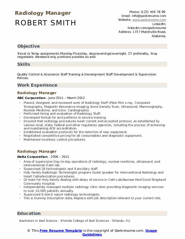 radiology manager resume samples qwikresume radiologist duties and responsibilities pdf Resume Radiologist Duties And Responsibilities Resume
