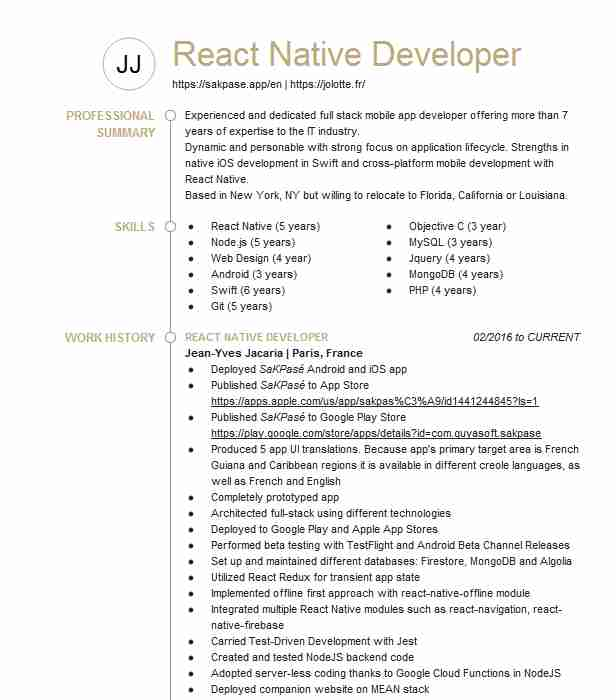react developer resume example scout corporation leesburg native assistant netapp sample Resume React Native Resume Example