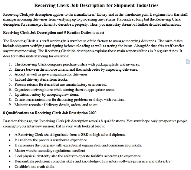 receiving clerk job description for shipment industries room surf resume careercup skid Resume Receiving Clerk Job Description Resume