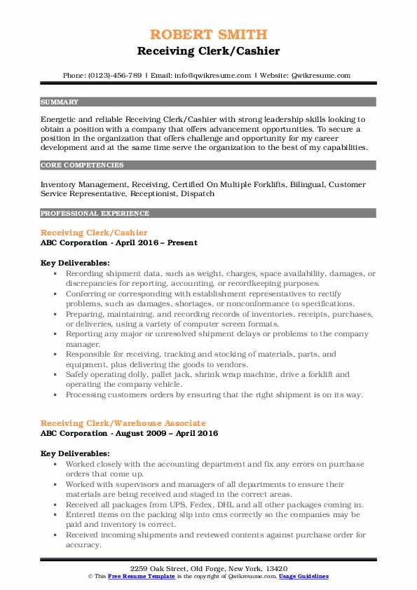 receiving clerk resume samples qwikresume job description pdf awesome templates free made Resume Receiving Clerk Job Description Resume