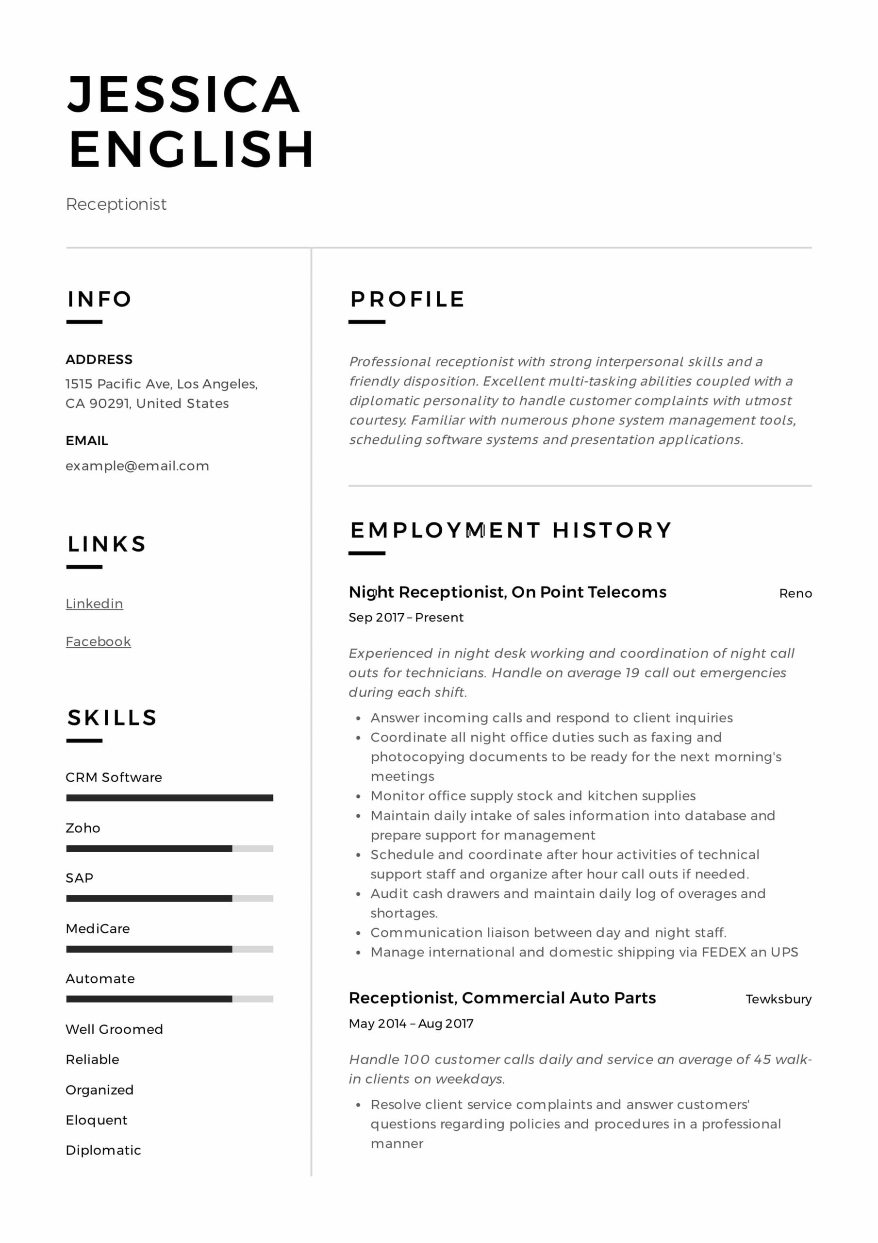 receptionist resume example writing guide samples pdf best jessica english sample for job Resume Best Receptionist Resume