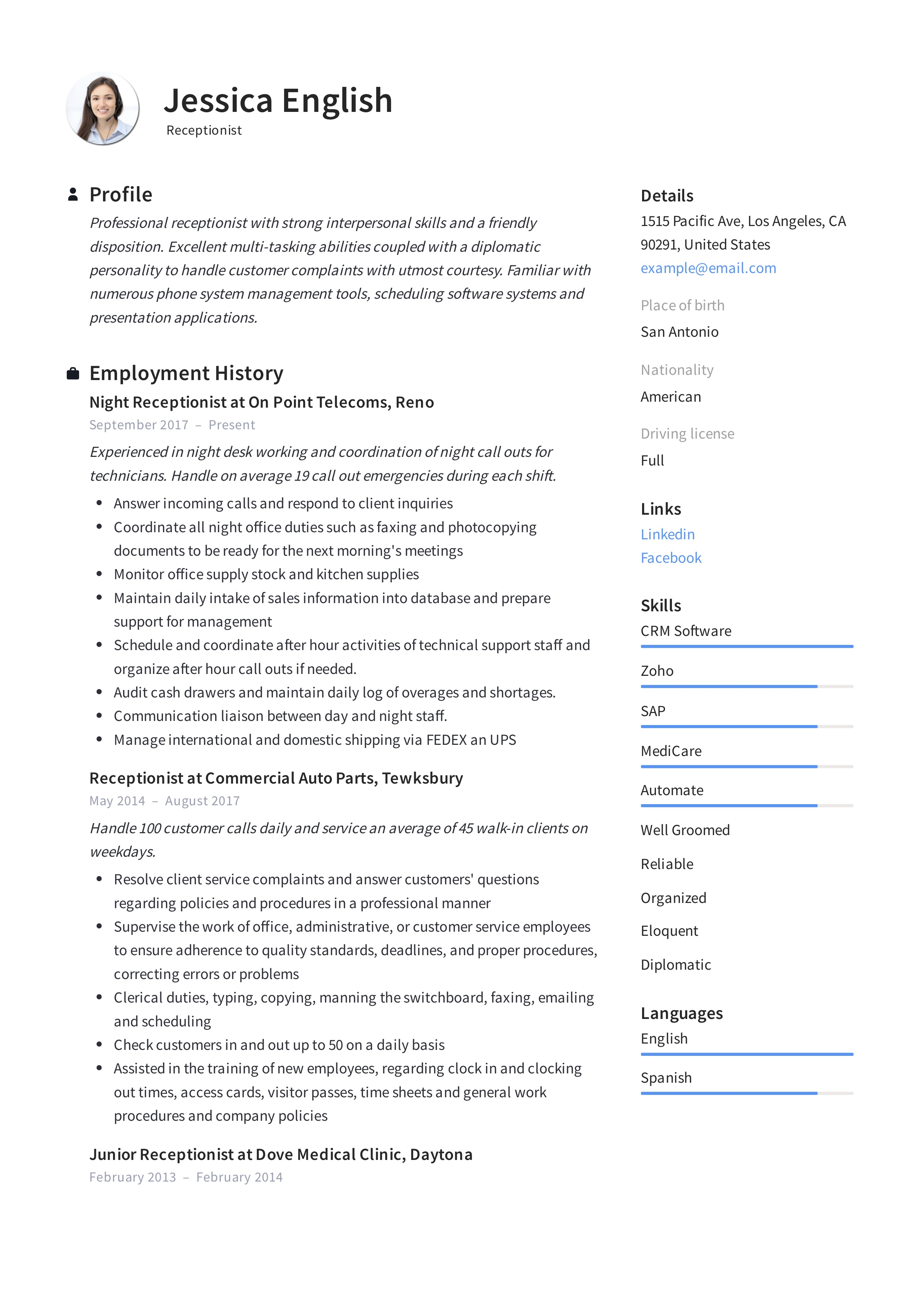 receptionist resume example writing guide samples pdf skills and abilities for jessica Resume Skills And Abilities For Receptionist Resume
