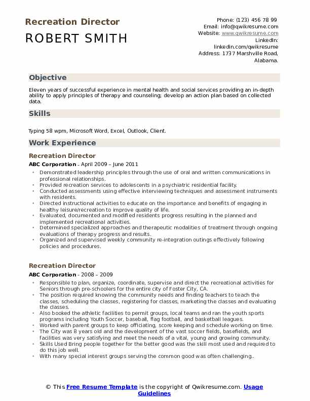 recreation director resume samples qwikresume manager pdf examples for assembly worker Resume Recreation Manager Resume
