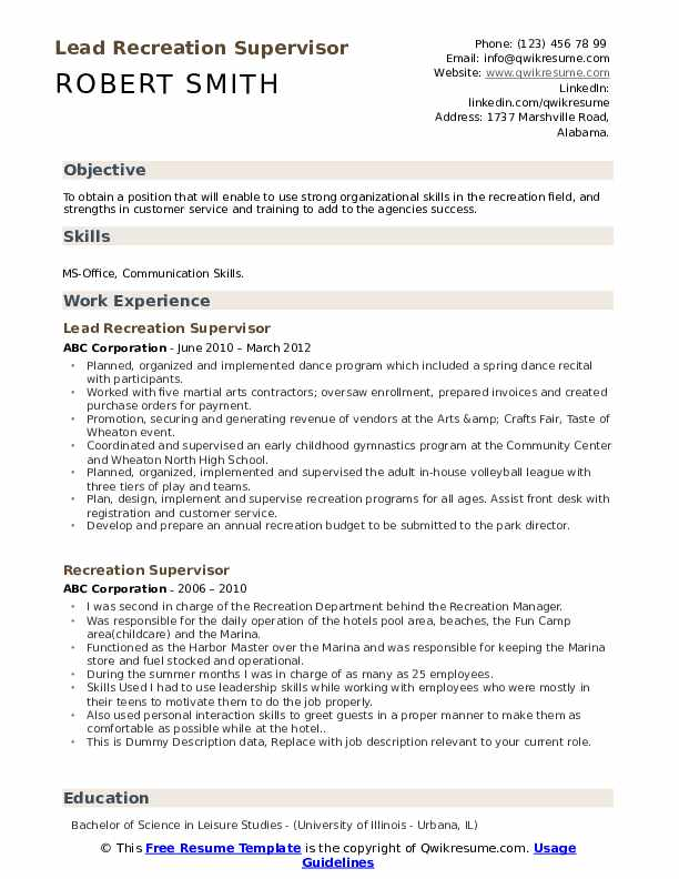 recreation supervisor resume samples qwikresume manager pdf examples for assembly worker Resume Recreation Manager Resume
