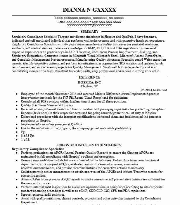 regulatory compliance specialist resume example livecareer martial arts experience uh Resume Compliance Specialist Resume