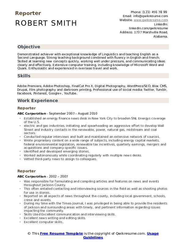 reporter resume samples qwikresume printing for interview pdf objective words livecareer Resume Printing Resume For Interview