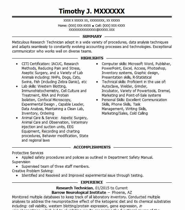 research technician resume example resumes livecareer examples rabbit complaints template Resume Research Technician Resume Examples