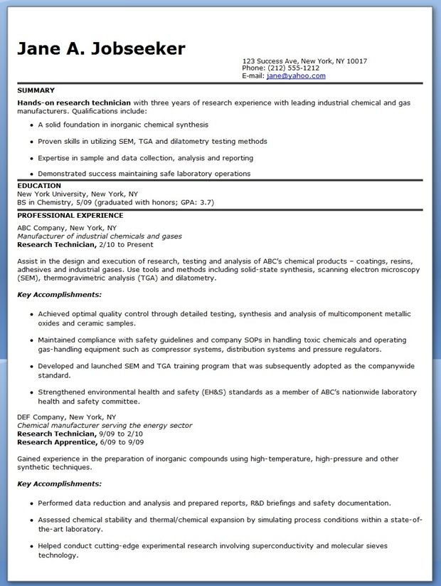 research technician resume examples experienced format for ats tamu career center writing Resume Research Technician Resume Examples