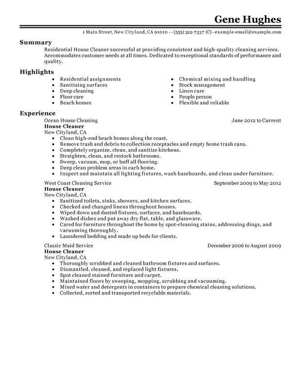 residential house cleaner resume examples free to try today myperfectresume cleaning Resume Cleaning Objective For Resume